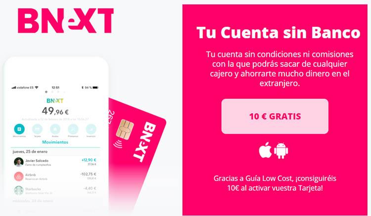 bnext tarjeta codigo promocional 10 euros